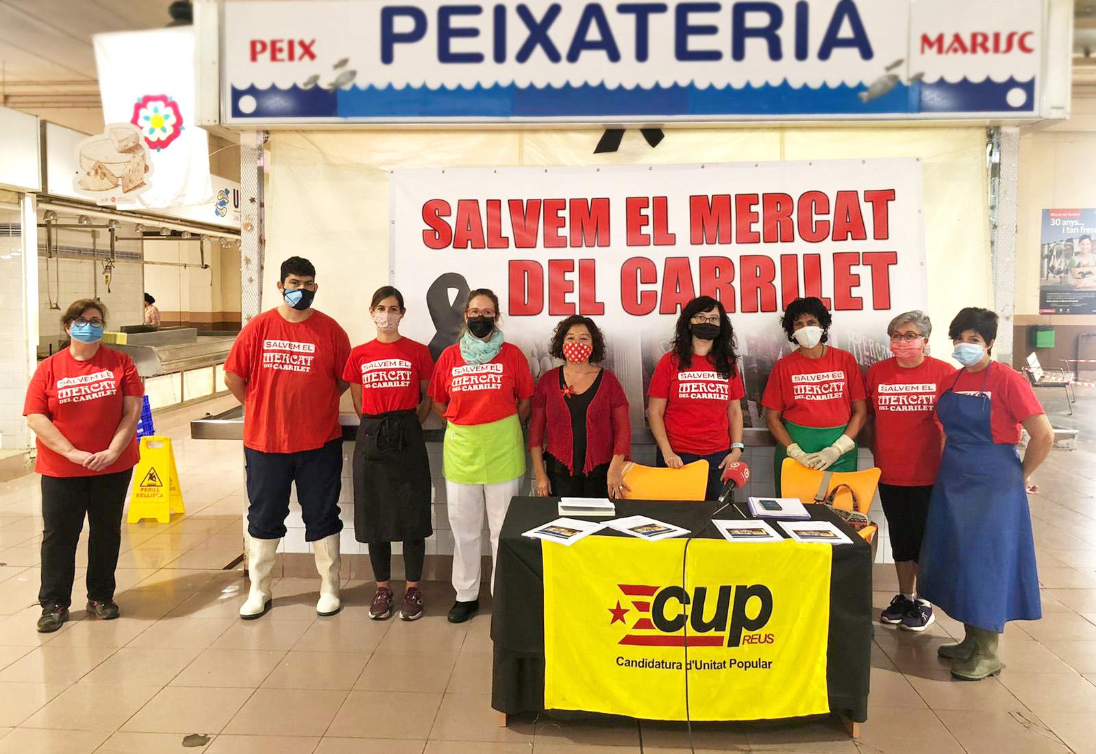 La CUP i les paradistes en contra del tancament del Mercat del Carrilet