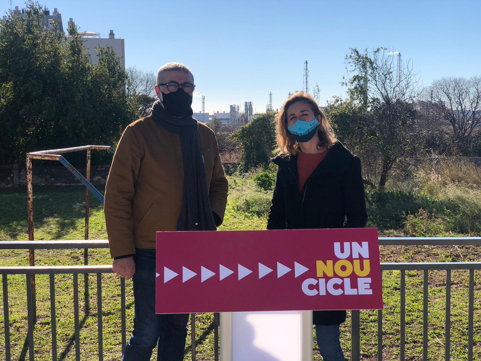Carles Riera i Laia Estrada a la roda de premsa sobre IQOXE